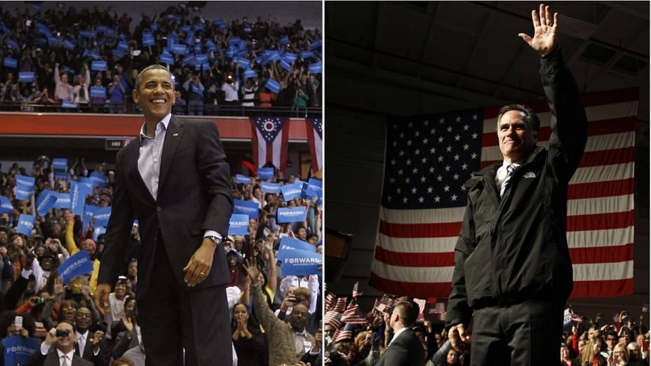 Obama e Romney no penúltimo dia de campanha