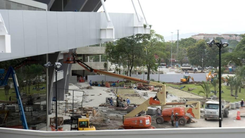 O Maracanã na quarta-feira, a apenas quatro dias da inauguração, no amistoso entre Brasil x Inglaterra