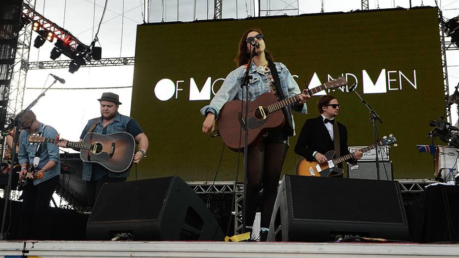 A banda de indie Of Monsters And Men durante show no palco Butantã Ivan Pacheco