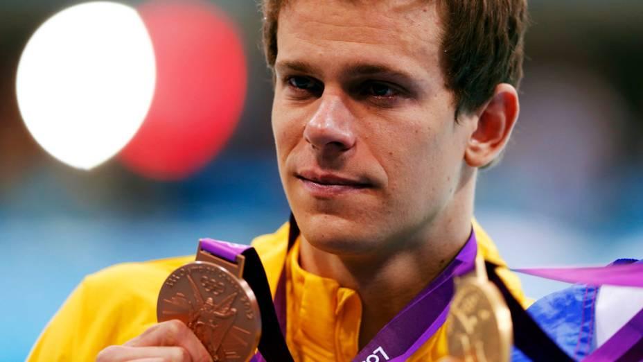 César Cielo conquista a medalha de bronze nos 100m livre nos Jogos Olímpicos de Londres em 03/08/2012