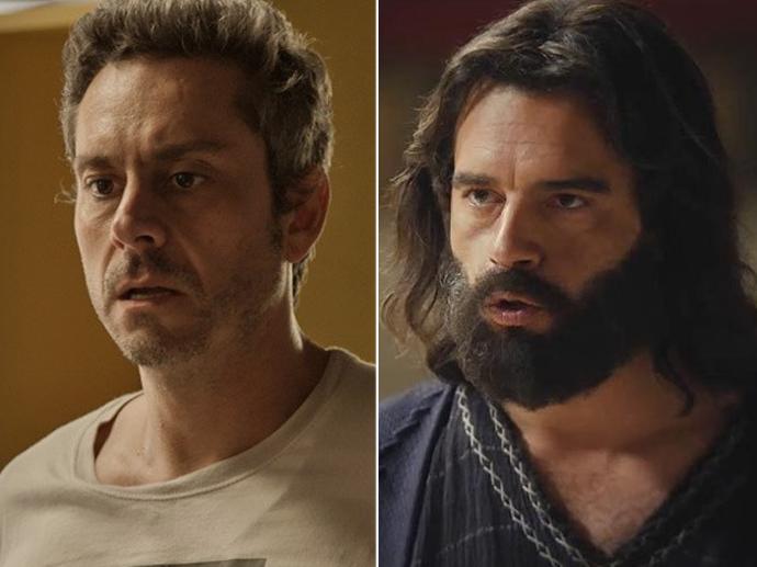 Os protagonistas de cada trama, Romero Rômulo (Alexandre Nero), de A Regra do Jogo, e Moisés (Guilherme Winter), de Os Dez Mandamentos