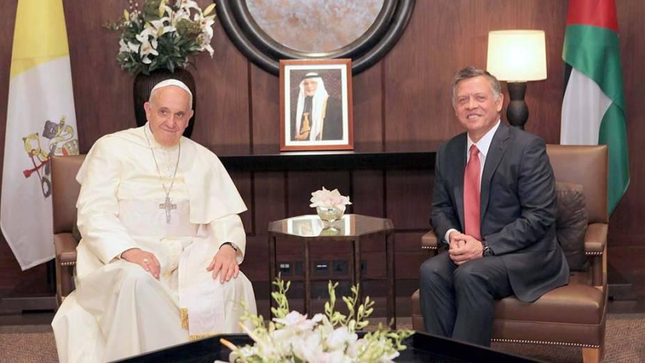 Na Jordânia, papa Francisco em reunião com o rei Abdullah II