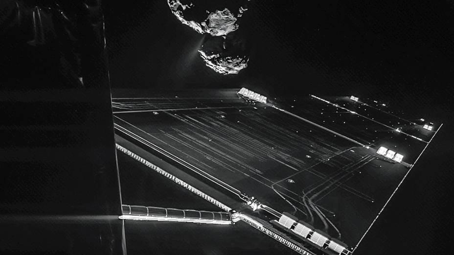 <p>O robô Philae enviou à Terra esta foto antes de completar seu pouso histórico no cometa 67P/Churyumov-Gerasimenko, em novembro deste ano</p>