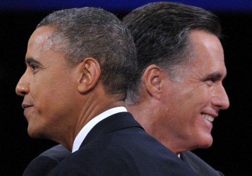 Barack Obama e Mitt Romney participam do último debate presidencial em Boca Ratón, na Flórida, em 22/10/2012