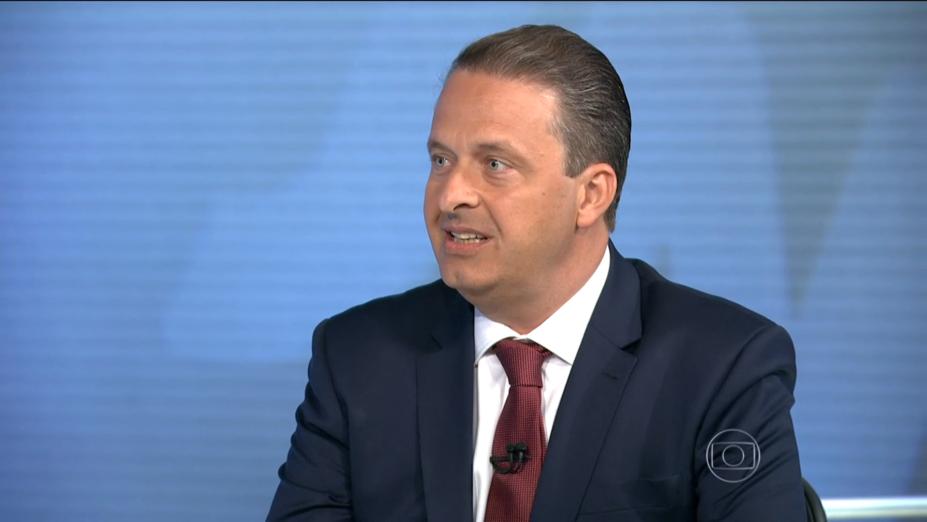 Eduardo Campos (PSB), candidato àPresidência da Repúblicadurante entrevista ao Jornal Nacional
