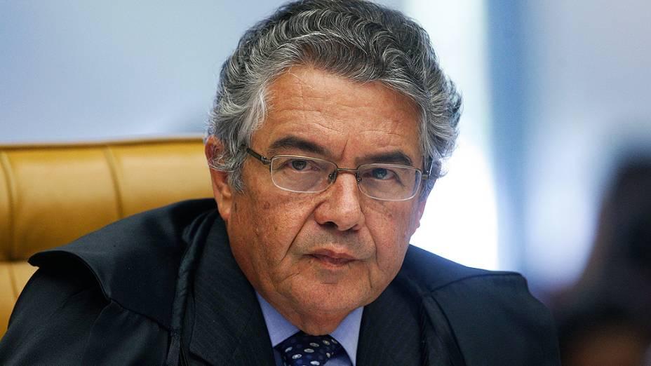 O ministro do Supremo Tribunal Federal (STF) Marco Aurélio, durante análise dos recursos apresentados pelas defesas dos 25 réus condenados pela corte, os chamados embargos, nesta quarta-feira (21)