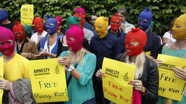 Manifestação em prol da banda russa Pussy Riot, na Noruega