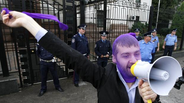 Protesto em prol da banda russa Pussy Riot, na Ucrânia