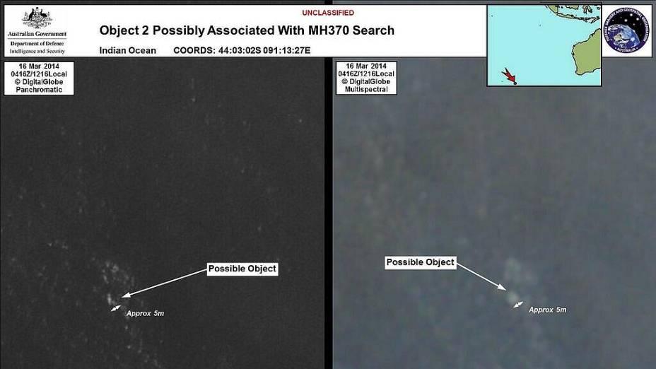 <p>Imagem feita por satélite divulgada pelo governo da Austrália mostra possível destroço do voo MH370 da Malaysia Airlines no Oceano Índico</p>