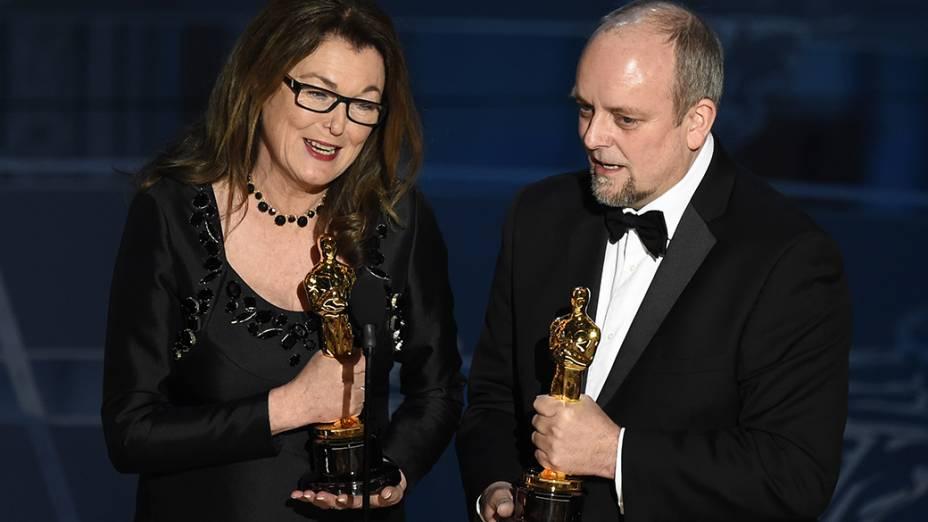 Frances Hannon e Mark Coulier vencem Oscar de cabelo e maquiagem por O grande hotel Budapeste