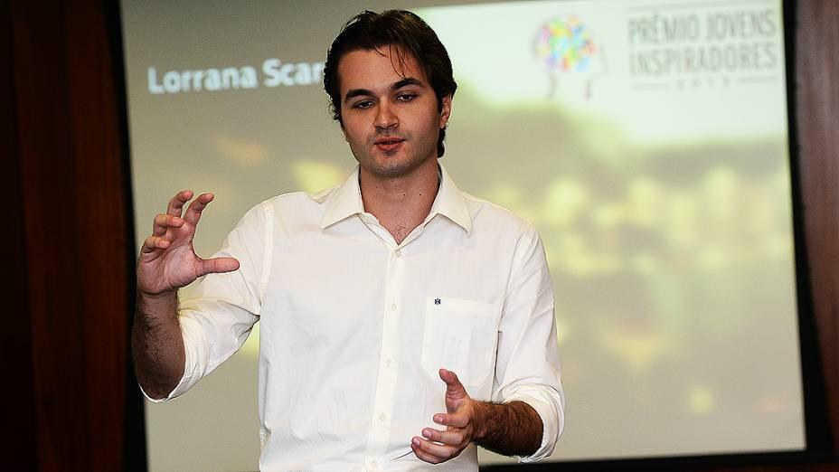 Samuel Gondim, finalista do Prêmio Jovens Inspiradores, durante última etapa do concurso em São Paulo (2/12/13)