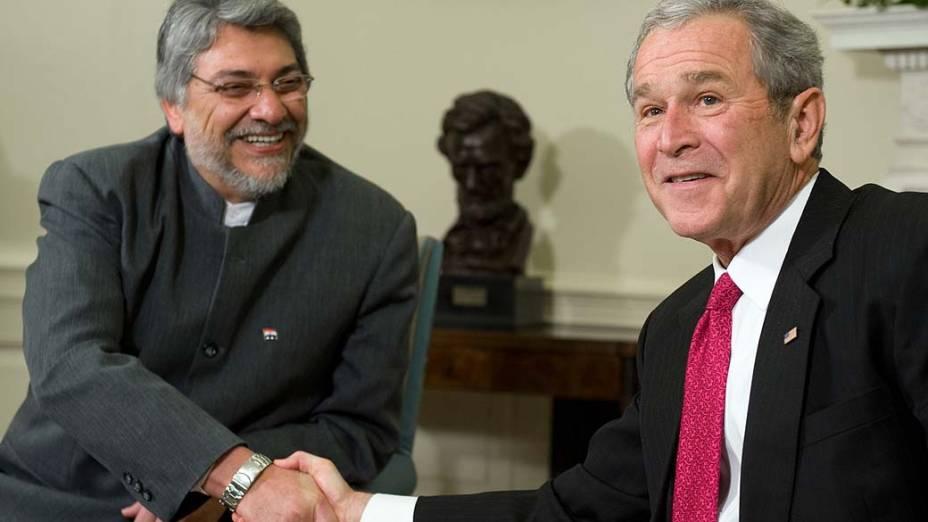 Fernando Lugo e o presidente George W. Bush em 2008