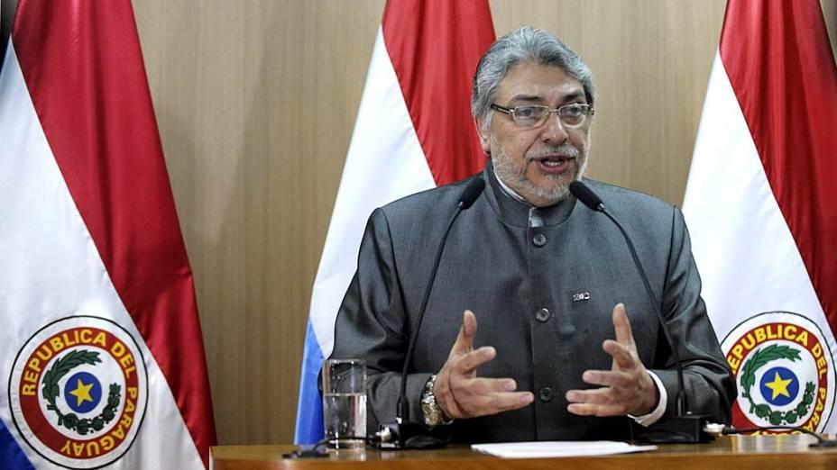 O presidente Fernando Lugo em coletiva de imprensa em Assunção, Paraguai