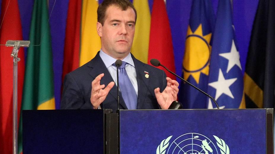 Presidente russo, Dmitri Medvedev discursa durante plenária da Rio+20