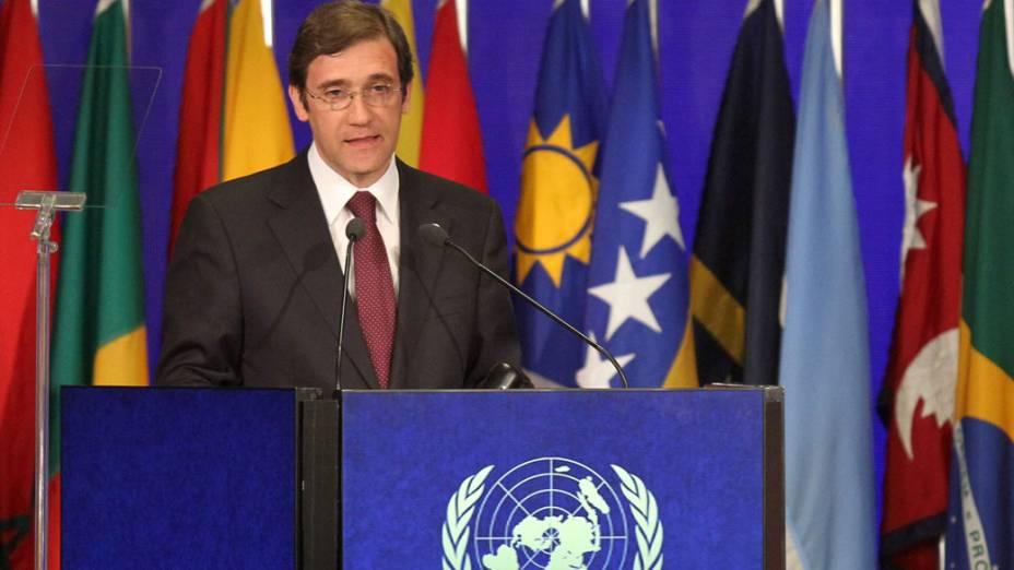 Primeiro ministro português, Paulo Passos, discursa durante plenária na Rio+20