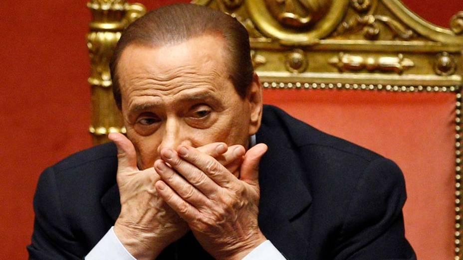 O primeiro-ministro italiano Silvio Berlusconi durante sessão no Senado em Roma, na Itália