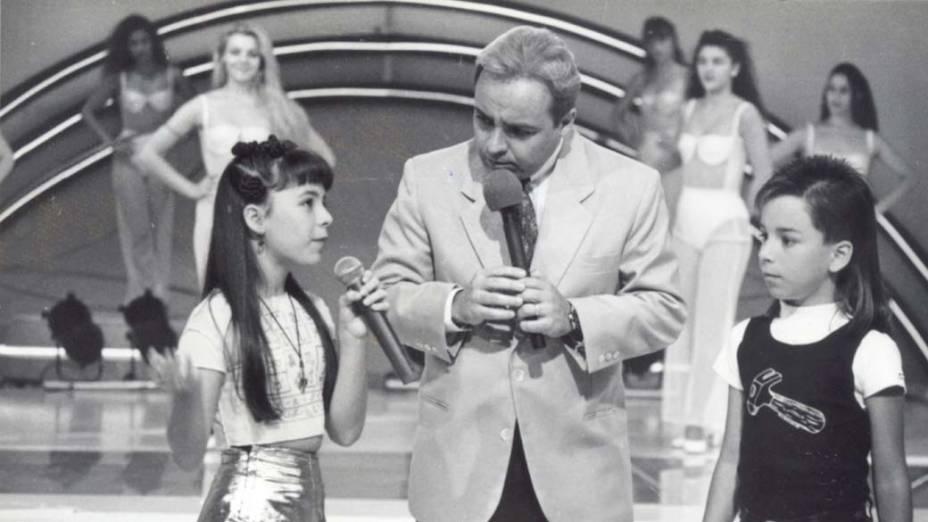 Gugu Liberato com Sandy & Junior no programa Viva a Noite, em 1994