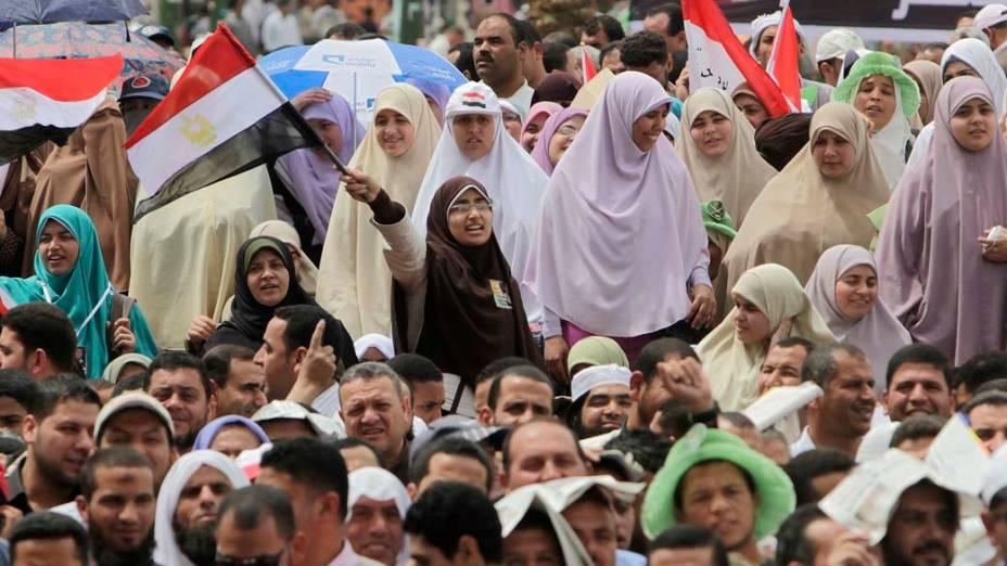 Mulheres muçulmanas também participaram do protesto na praça Tahrir