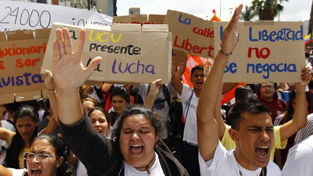 Manifestação contra o governo do presidente da Venezuela, Nicolas Maduro, em Caracas