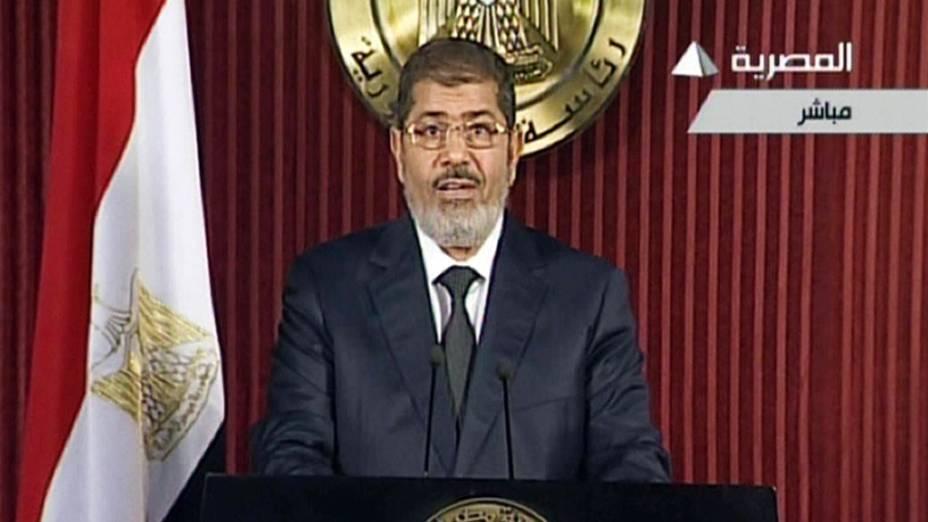 Mohamed Mursi, presidente do Egito, durante pronunciamento na TV