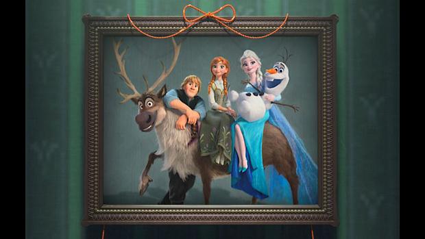 Foto de família mostrada no curta-metragem Frozen: Febre Congelante