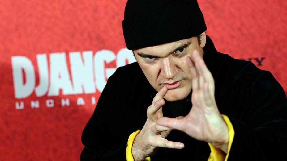 Diretor americano Quentin Tarantino faz pose na chegada à pré-estreia de seu filme Django livre em Berlim, na Alemanha