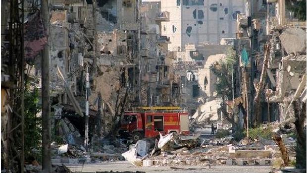 Rastro de destruição na cidade síria de Maaloula