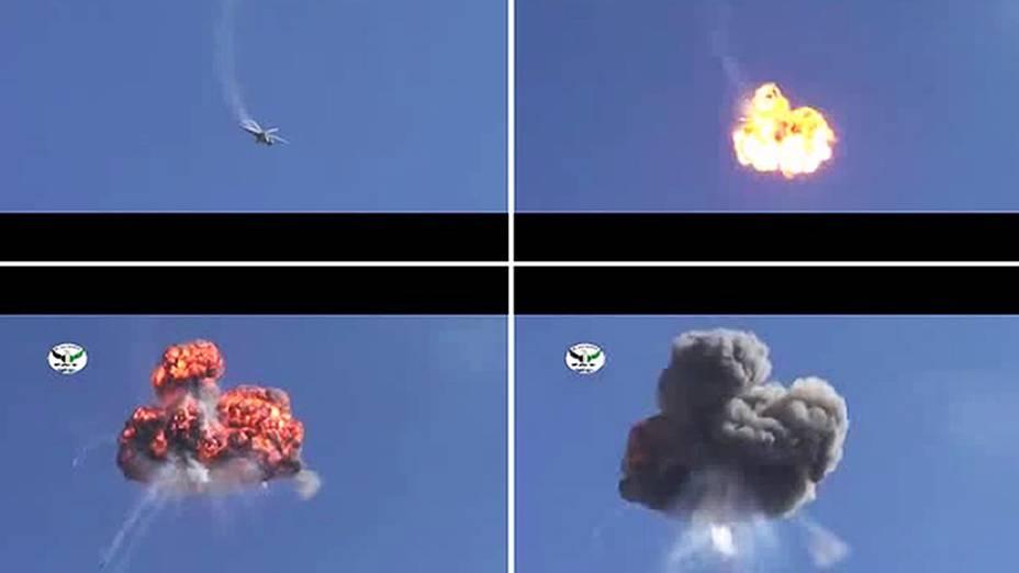 Montagem com imagens retiradas de um vídeo disponível no YouTube nesta quarta-feira (17) mostra um helicóptero da Força Aérea síria, supostamente derrubado por membros do exército rebelde sobre a estrada entre Damasco e Aleppo