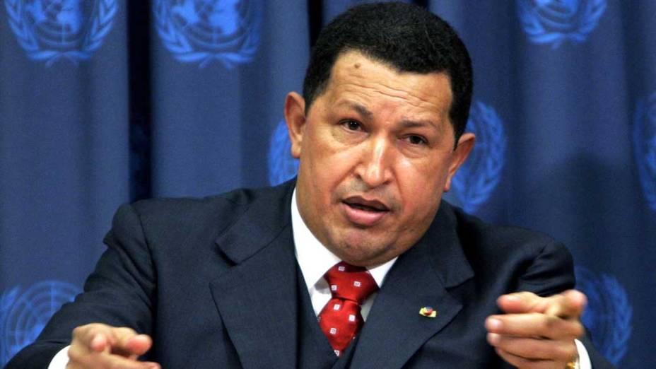 Hugo Chávez durante coletiva de imprensa em reunião da cúpula mundial na sede da ONU em Nova York, em 15/09/2005
