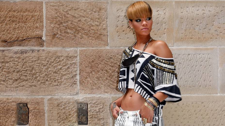 Rihanna durante turnê na Austrália, em fevereiro de 2010