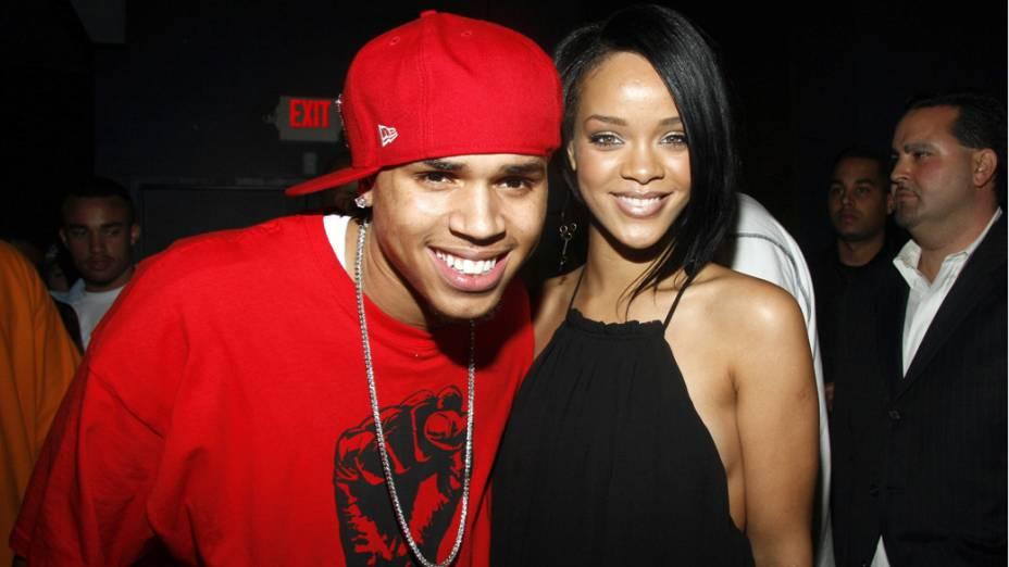 Rihanna e Chris Brown em Nova York, em 2007