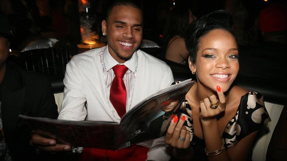 Rihanna e Chris Brown em Hollywood, em 2008