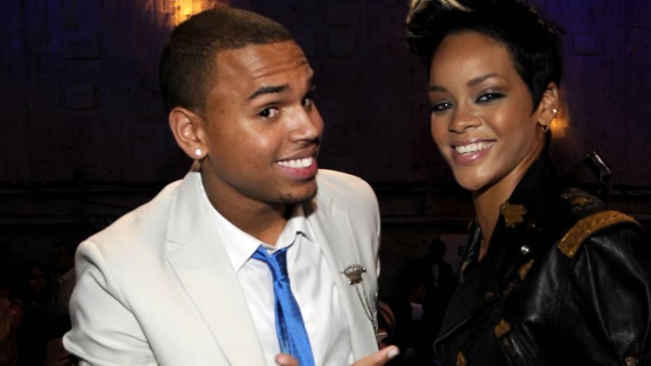 Rihanna e Chris Brown nos bastidores do  MTV Movie Awards 2008