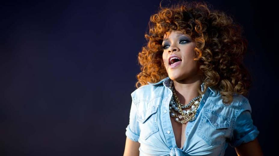 A cantora Rihanna durante show em Chelmsford, Grã-Bretanha, em setembro de 2011