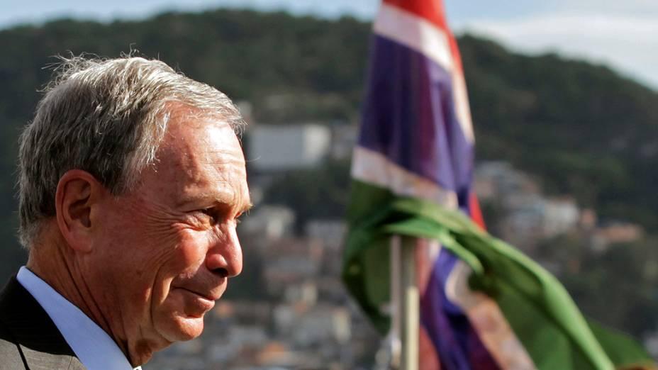 Prefeito de Nova York, Michael Bloomberg durante a abertura da C-40, a Cúpula de Prefeitos que acontece no Forte de Copacabana