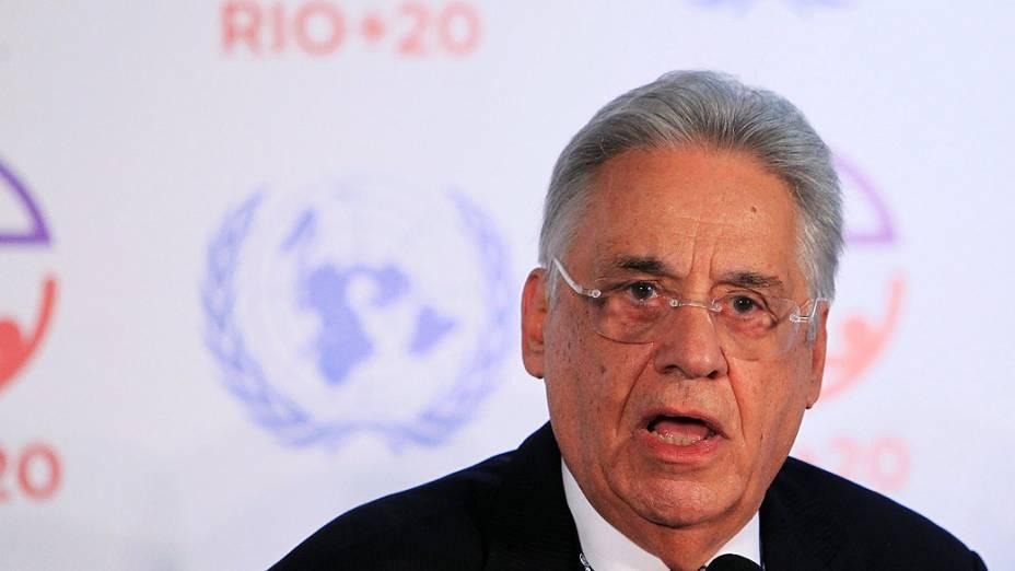 O ex-presidente da República Fernando Henrique Cardoso participa de conferência da Rio+20, no Riocentro