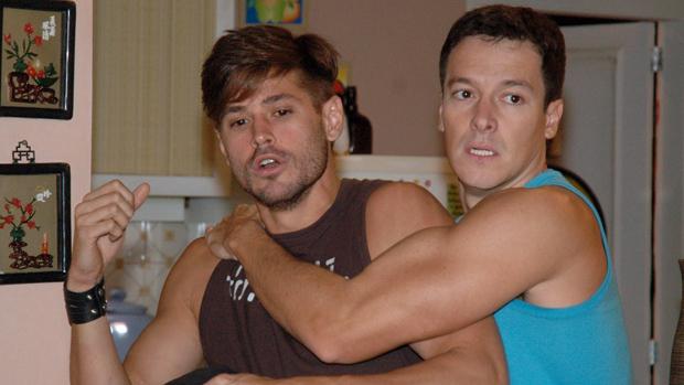 Dado Dolabella e Rodrigo Faro na novela Chamas da Vida, da Rede Record, em 2008