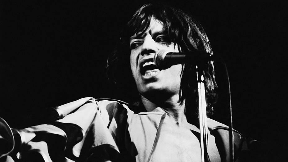 O vocalista Mick Jagger em 1976
