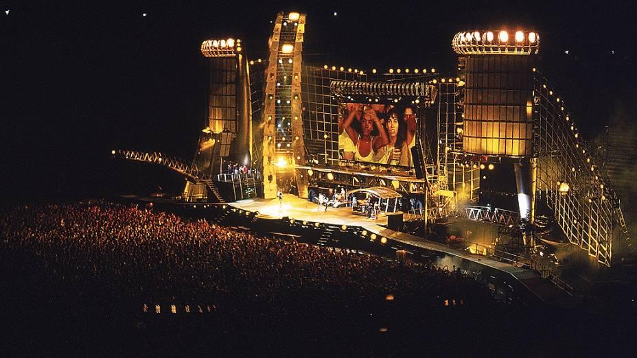 """Rolling Stones no show """"Voodoo Lounge"""", no Estádio do Pacaembu em São Paulo no ano de 1995"""