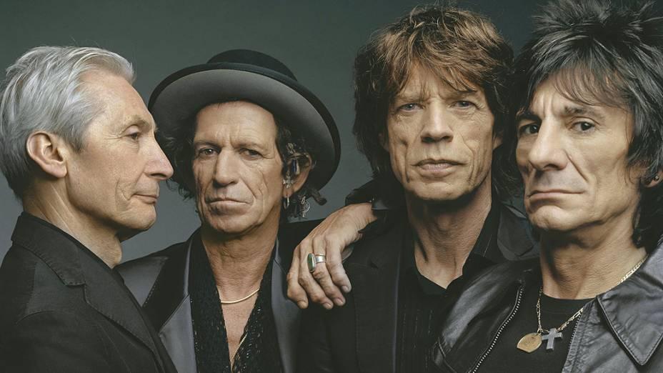 Foto de Charlie Watts, Keith Richards, Mick Jagger e Ron Wood, integrantes da banda Rollings Stones em 2008