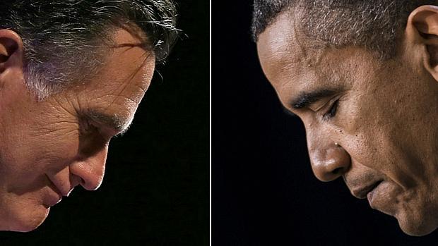 O republicano Mitt Romney e o democrata Barack Obama, que busca a reeleição, se enfrentam no primeiro debate da disputa presidencial nesta quarta
