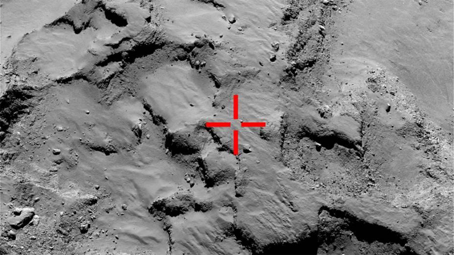 Imagem feita pelo robô Philae na aproximação ao local escolhido pelos cientistas da Missão Internacional Rosettapara o pouso no cometa67P/Churyumov-Gerasimenko