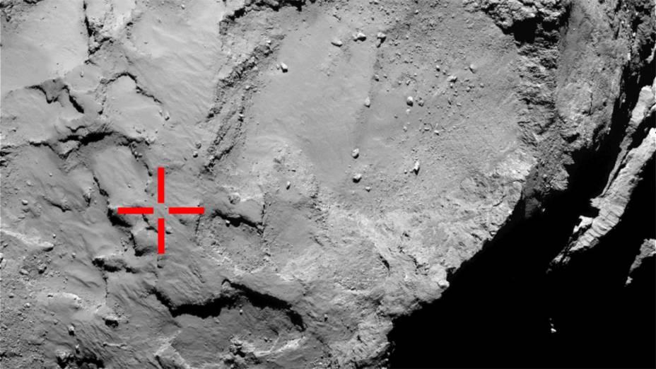 """Local inicialmente chamado de """"ponto J"""", e rebatizado de Agilkia em um concurso popular, foiescolhido pelos cientistas da Missão Internacional Rosettapara o pouso da sonda Philaeno cometa67P/Churyumov-Gerasimenko"""