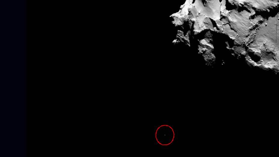 Imagem capturada pela sonda Rosetta mostra Philae descendo rumo ao pouso no cometa67P/Churyumov-Gerasimenko