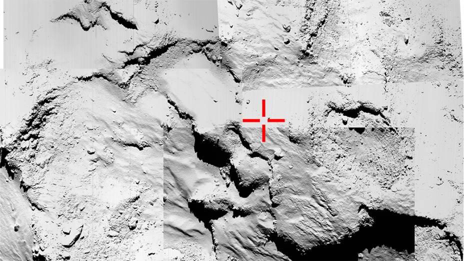 """Local escolhido pelos cientistas da Missão Internacional Rosetta para o pouso no cometa foi chamado inicialmente de """"ponto J"""" e rebatizado de Agilkia, em um concurso popular"""