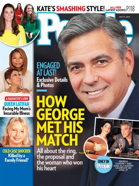 Capa da revista People, com destaque para o anel de noivado de George Clooney