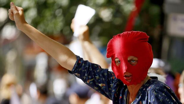 Protesto em prol da banda russa Pussy Riot, em Londres
