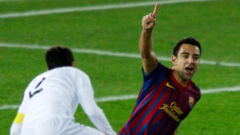 Xavi, do Barcelona, comemora gol contra o Santos, pela final do Mundial de Clubes, no Japão - 18/12/2011