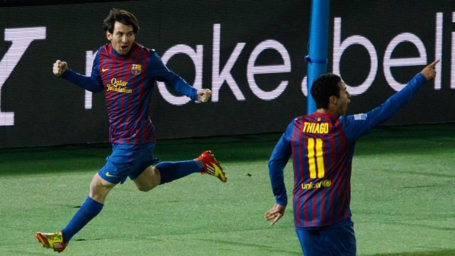 Messi, do Barcelona, comemora o primeiro gol contra o Santos, durante a final do Mundial de Clubes - 18/12/2011