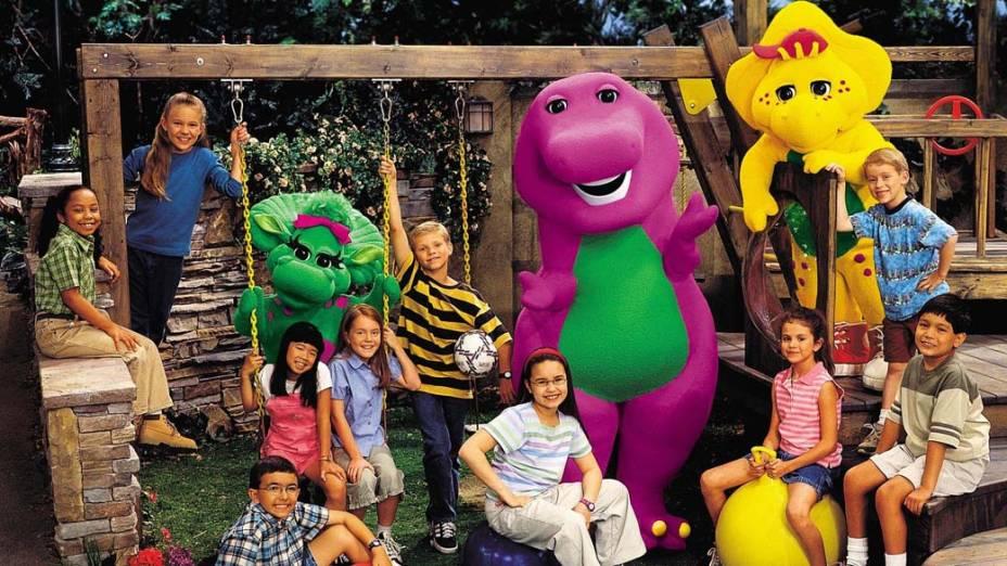 """Selena Gomez no programa """"Barney e amigos"""" aos 7 anos"""